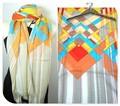 【セール】大判薄型ファンタジー幾何プリント柄100%ウールストール/スカーフ/マフラー 3166