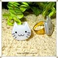 ○白猫シリーズ スマイルネコリング ○