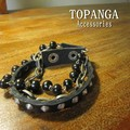 【まとめ買い特価】TOPANGA Accessories 3連ミックスブレスレット  牛革/メンズ/スタッズ/クール/ブレス