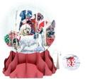 UP WITH PAPER スノーグローブカードS/L 立体仕様 クリスマス <犬>