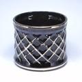 ポルトガル製 陶器 植木鉢・Black&Gold【黒・金】シャープな格子模様《底穴ナシ》小