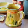 ポルトガル製 陶器 手描き レモン オリーブ柄 食器 ピッチャー カラフェ ウォータージャグ 800cc