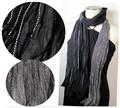 【セール】インドハンドメイドツートンカラーシワ加工シルクウールストール/スカーフ  IN319