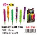 【おもしろ雑貨】Spikey Ball Pen スパイキーボールペン 文房具 ネオン 蛍光 レインボー