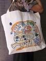 新柄追加!キャンバス地のアニマル柄のコットントートバッグ(ネコ/ゾウ)<全6柄>