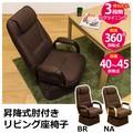 昇降式肘付き リビング座椅子 ブラウン/ナチュラル