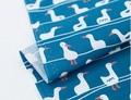 【生地】【布】【コットン】ダック(ブルー) デザインファブリック★50cm単位でカット販売