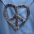 EYE DOLL ピースマーク刺繍ワンピース ブラック