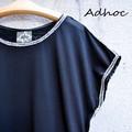 ADHOC  バックプリントフレンチスリーブTシャツ ブラック