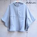 ADHOC  フード付き三つ編みポンチョ グレー