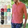 14色展開!七分袖リネンシャツ 長袖シャツ