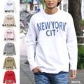 """【DEEDOPE】 """"NEWYORK CITY"""" ロンT プリントロゴ Uネック長袖ロングTシャツカットソー"""
