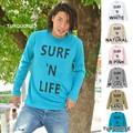 "【DEEDOPE】 ""SURF 'N LIFE"" ロンT プリントロゴ Uネック長袖ロングTシャツ"