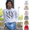 """【DEEDOPE】 """"MYNY"""" ロンT プリントロゴ Uネック長袖ロングTシャツカットソー"""
