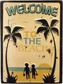 """アンティークエンボスプレート[レクト""""Welcome to the Beach""""]"""