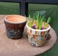 【ガーデン用品・ポット】カラフルで楽しいポット♪ モザイク Pot  ブルーストーン +プランター