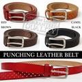 メンズ 本革 レザーベルト M-L パンチングレザー ベルト 男性 牛革 ブラウン 黒 キャメル 赤 天然皮革