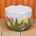 【ポルトガル製】陶器 植木鉢 黄 ピンク チューリップ 白 レリーフ プランター 《底穴あり》 大