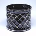 ポルトガル製 陶器 植木鉢・Black&Gold【黒・金】シャープな格子模様《底穴ナシ》大