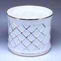 ポルトガル製 陶器 植木鉢・white&Gold【白・金】シャープな格子模様《底穴ナシ》大