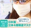 【日本製】 マスク 立体4層構造 8枚セット / 30枚 箱入 不織布