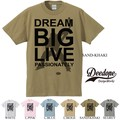 "【DEEDOPE】""DREAM BIG LIVE PASSIONATELY"" 半袖 プリント Tシャツ"