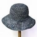 ラフィアクロッシェ帽子 つば9 アフガン編み風 ネイビー