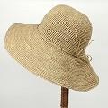 ラフィア細編み帽子 つば12ワイヤー 紅茶