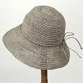 【SALE】ラフィア細編み帽子楕円 つば9 ライトグレー ¥6500→5200