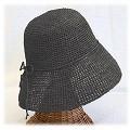 【SALE】ラフィア細編み帽子楕円 つば9 オフブラック ¥6500→5200