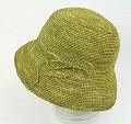 【SALE】ラフィア細編み帽子楕円 つば9 オリーブ ¥6500→5200