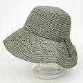 ラフィア細編み帽子 つば11 紙タグ付 ブルーグレー