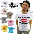 "【DEEDOPE】 ""KISS PLEASE"" 半袖 プリント Tシャツ 綿100% カットソー"
