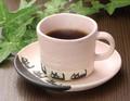 ■【カップ&ソーサー】カネタピンク黒ネコ珈琲碗皿