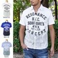 メンズ カレッジプリント 半袖シャツ カジュアルシャツ 白 青 サックス ホワイト キレイめ キレカジ 春夏