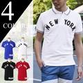 メンズ ポロシャツ 半袖 鹿の子 NEWYORK フェルトパッチ 襟ライン カノコ 男性用 アメカジ キレイめ