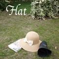 【UV対策】折り畳みできる帽子!!リボン付き折り畳みペーパークロシェ