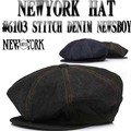 NEWYORK HAT #6013 STITCH  DENIM NEWS BOY 13501