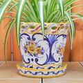 【ポルトガル製】陶器 受け皿付 植木鉢《底穴あり》ハンドペイント花柄・イエロー  プランター 17cm