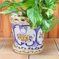 【ポルトガル製】陶器 受け皿付 植木鉢《底穴あり》ハンドペイント花柄・イエロー  プランター 19cm