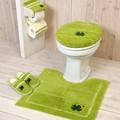 【四葉が幸せを運んでくれる】 トレフルトイレ5点セット(U型/O型/洗浄暖房型・マット普通・ロングサイズ)