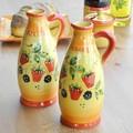 【ポルトガル製】陶器 手描き ストロベリー フルーツ柄 食器 オリーブ & ビネガー ボトル 容器  ポット
