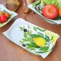 イタリア製 食器 陶器製 レモン柄 ディッシュ パスタ皿 LEMON レリーフ 長皿