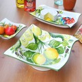 イタリア製 食器 陶器製 レモン柄 サラダボウル スクエアボール 中皿 LEMON レリーフ 22cm