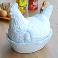 ポルトガル製 蓋付きコンテナ  保存容器 保存庫 陶器製 蓋付き食器  ニワトリとヒヨコの親子