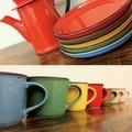 【ホーローそっくりの陶器マグ】カンパーニュシリーズ カフェマグ&プレート