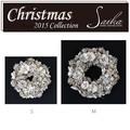 <<クリスマスLEDリース>>>★■X'mas/  LED Wreath- White Bloom & Gold Berry