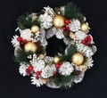 <<クリスマスLEDリース>>>★■X'mas/  LED Wreath- Gold Ball & White Pinecone