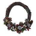 <<クリスマスリース>>★■X'mas/  Half Wreath - Lotus & Berry