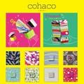 【Cohaco】8柄展開タオルチーフ<シャーリング プリント><プレゼント ギフト>